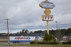 Moving trucks make their way into the VictoryLand facility Feb. 19 around 11 a.m. Photo by Brian Harris.