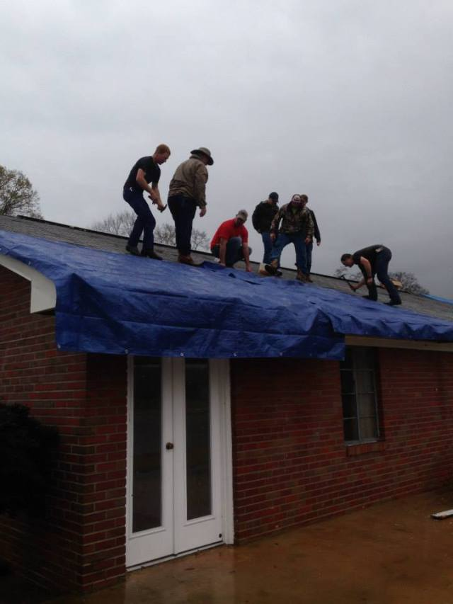 Straight-line winds damaged portions of Canoe Baptist Church, Atmore.