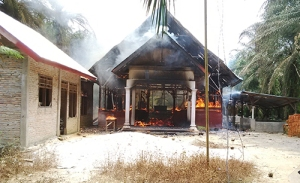 A church in Indonesia burns.